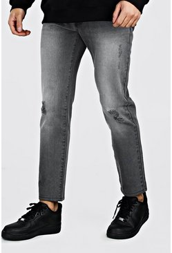 Dark grey Jeans i slim fit med slitna knän