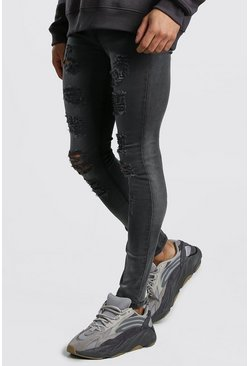 Dark grey Super Skinny Jeans With All Over Rips