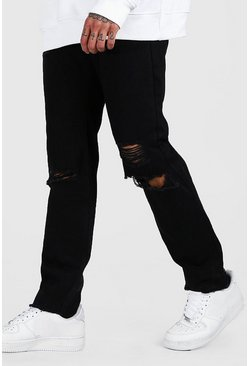 Black Slitna jeans i slim fit