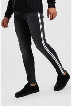 Charcoal Skinny Jeans With Side Tape