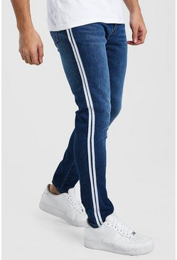 Mid blue Skinny Jeans With Side Tape
