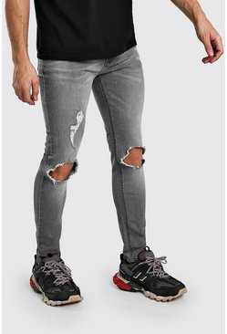 Light grey Skinny Jeans With Busted Knees