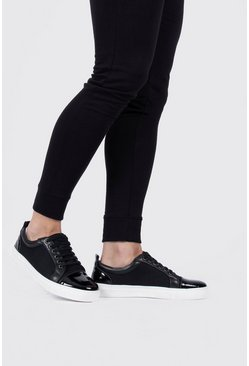 Black Toecap Textured Trainers