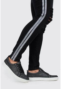 Black Full Glitter Lace Up Trainer