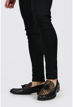 Black Barockmönstrade loafers