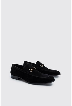 Black Immi Suede Horse Bit Loafer