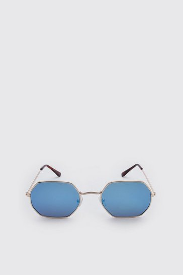 Blue Mirror Lens Hexagon Sunglasses
