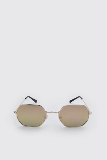 Rose gold Mirror Lens Hexagon Sunglasses