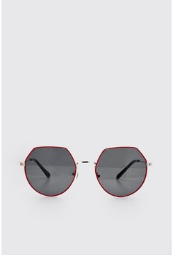 Red Coloured Edge Rounded Sunglasses