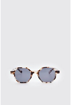 Brown Acetate Octagonal Sunglasses