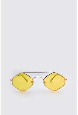 Yellow Metal Frame Diamond Sunglasses