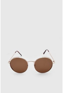 Gold Deep Edge Round Sunglasses