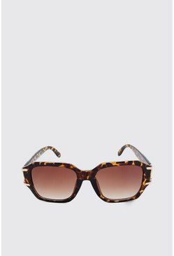 Brown Metal Arm Detail Sunglasses
