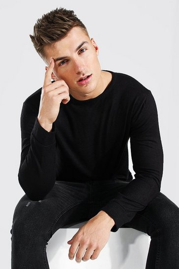 Black Knitted Crew Neck Jumper