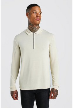 Ecru Knitted Zip Collared Polo