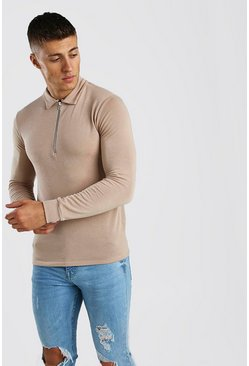 Camel Knitted Zip Collared Polo