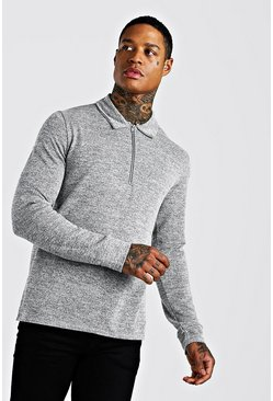Grey Knitted Zip Collared Polo