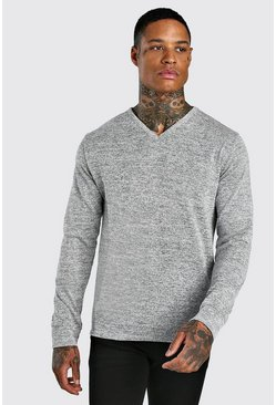 Grey Knitted Basic V Neck Jumper