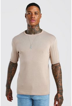 Camel Short Sleeve Knitted Crew Neck T-Shirt