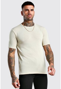 Ecru Short Sleeve Knitted Crew Neck T-Shirt