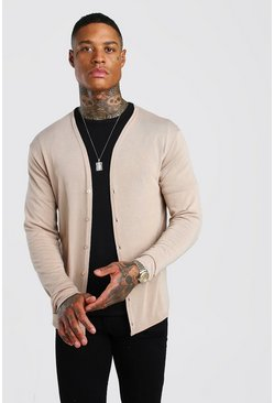 Camel Basic Knitted Cardigan