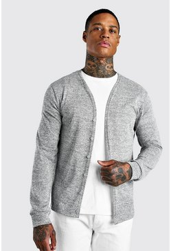 Grey Basic Knitted Cardigan