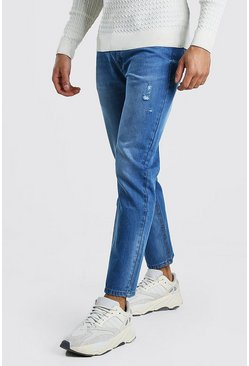 Mid blue Slim Fit Jeans With Distressing