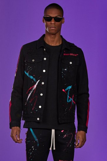 Black MAN Official Co-Ord Denim Jacket With Paint Detail