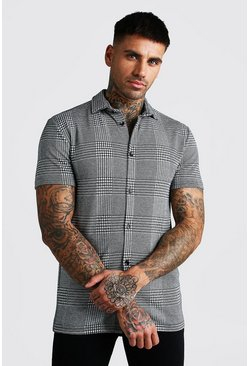 Grey Muscle Fit Short Sleeve Jacquard Check Shirt