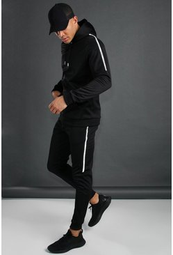 Black MAN Active Reflective Taped Tracksuit