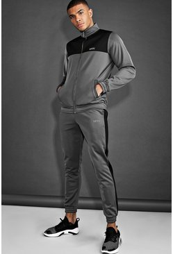 Charcoal MAN Active Funnel Neck Panelled Poly Tracksuit