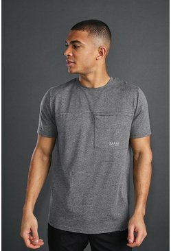 MAN Active T-Shirt mit Nahtdetail, Anthrazit