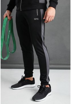 Black MAN Poly Jogger With Contrast Detail