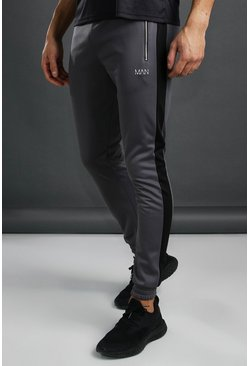 Charcoal MAN Poly Jogger With Contrast Detail