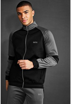 Black MAN Poly Funnel Neck Sweater With Contrast Detail
