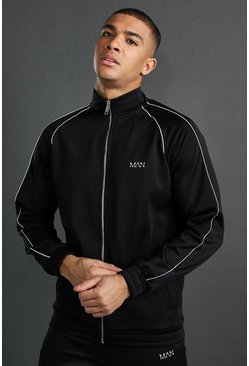 Black MAN Poly Funnel Neck Reflective Detail Zip Through