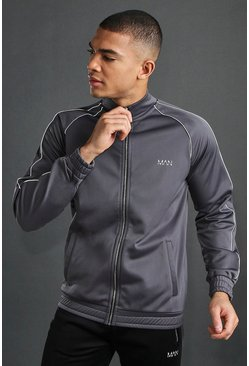 Charcoal MAN Poly Funnel Neck Reflective Zip Through