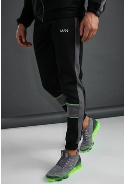 Black MAN Skinny Fit Poly Joggers With Piping Detail