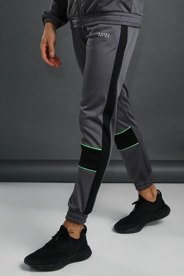 Charcoal MAN Skinny Fit Poly Jogger With Piping Detail