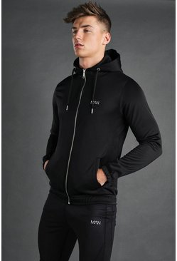 Black MAN Zip Through Poly Snorkel Neck Hoodie