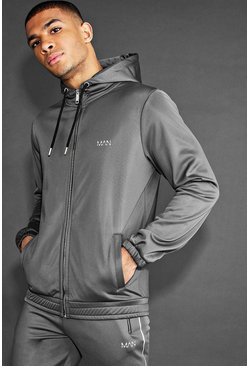 Charcoal MAN 1/4 Zip Poly Snorkel Neck Hoodie