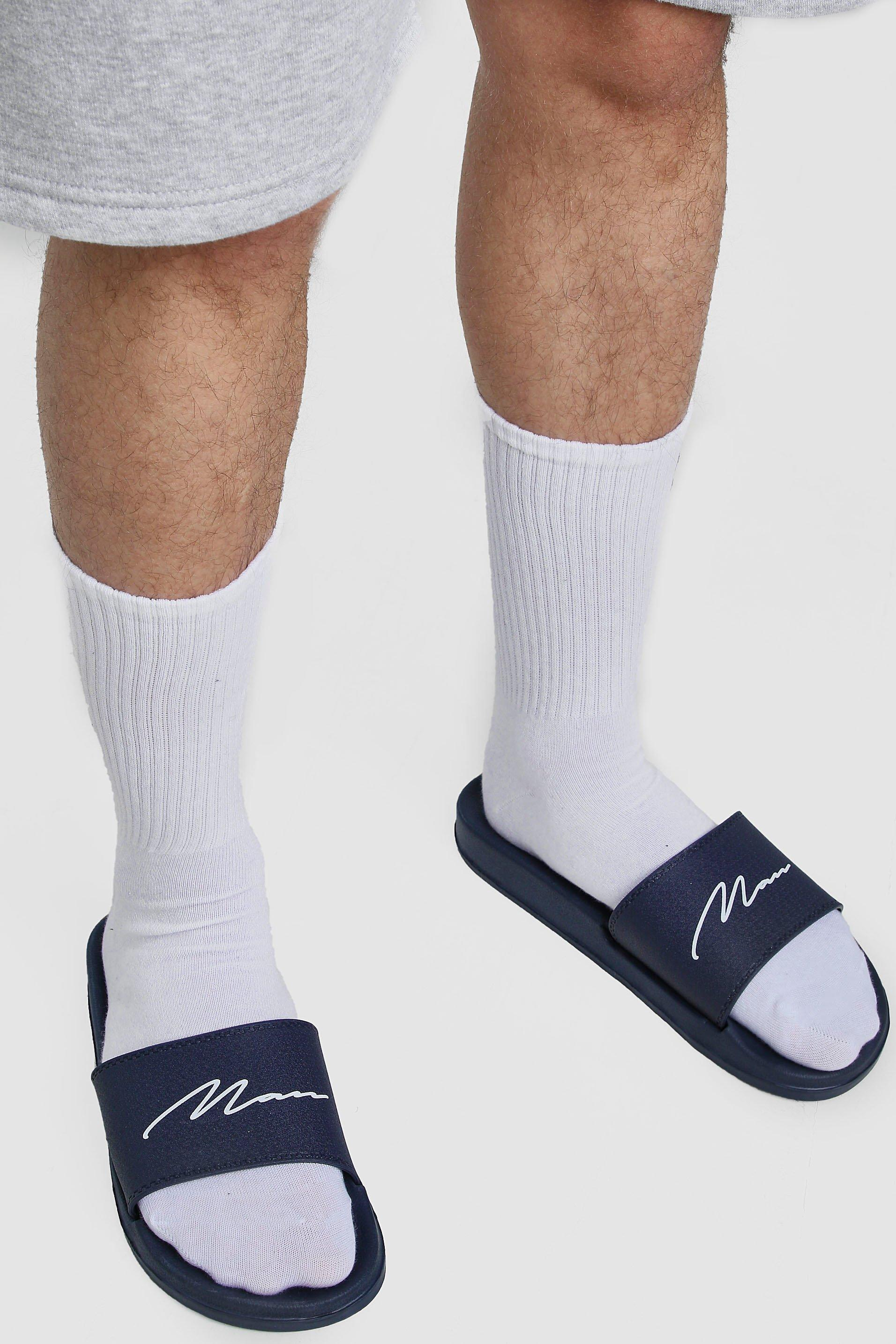 mens man script slider - navy