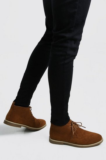 Tan Faux Suede Desert Boot