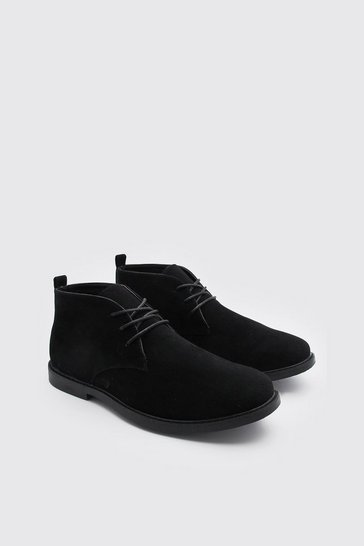Black Faux Suede Desert Boot