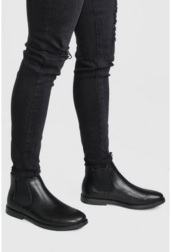 Black Leather Look Chelsea Boot