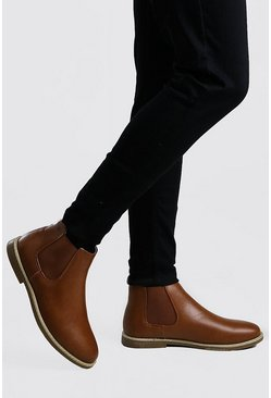Tan Leather Look Chelsea Boot