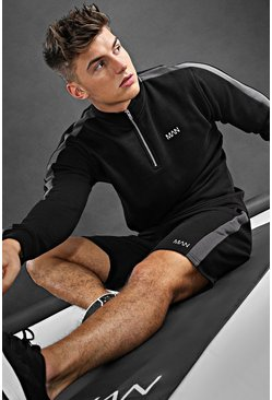 Black MAN Active Panelled Short Set