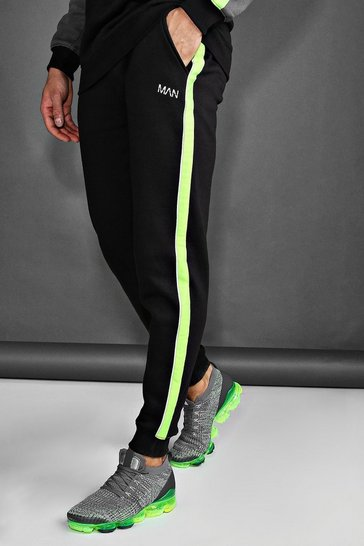 Black MAN Skinny Joggers With Reflective Piping
