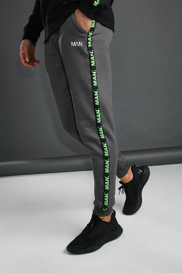 Charcoal MAN Joggers With Tape Detail