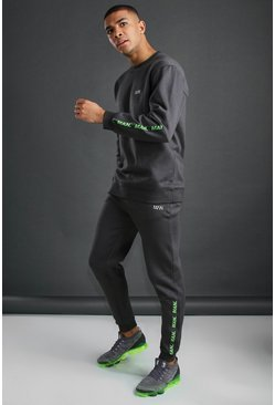 Charcoal MAN Active Loose Fit Tracksuit With Tape Detail